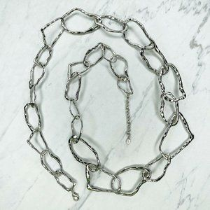 Zara Silver Tone Hammered Metal Long Necklace